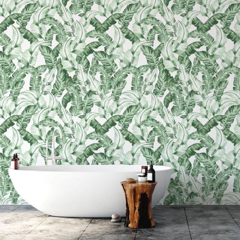 tapeta do łazienki,tapety tropikalne,tapeta do kuchni,tropikalna tapeta,liść bananowca,tapeta w liście bananowca