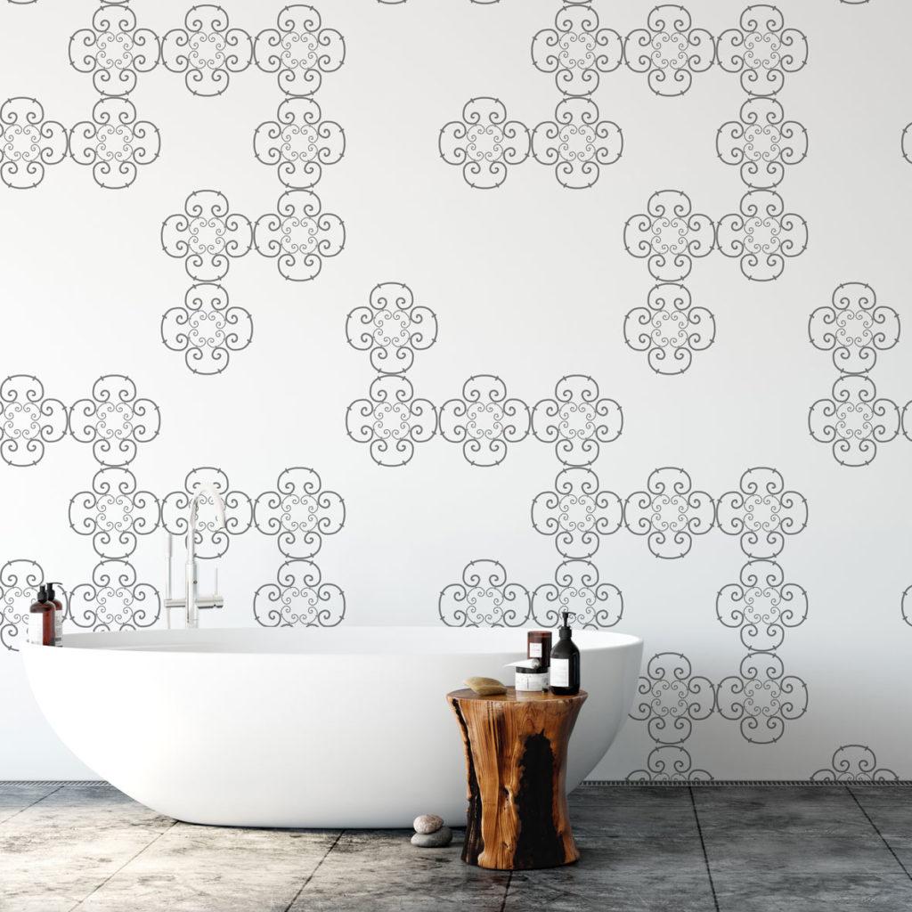 tapeta do łazienki, tapeta we wzory geometryczne