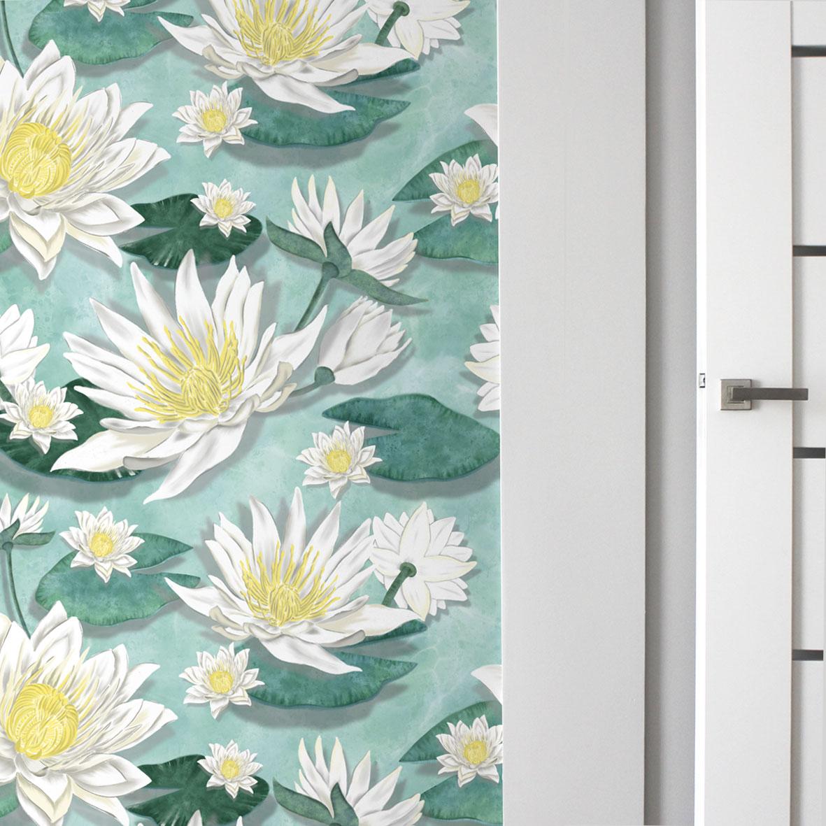 tapety tropikalne,motyw wody,tapeta do pokoju,tapeta do przedpokoju,tapeta do łazienki,tapeta winylowa,tapeta samoprzylepna,motyw lilii
