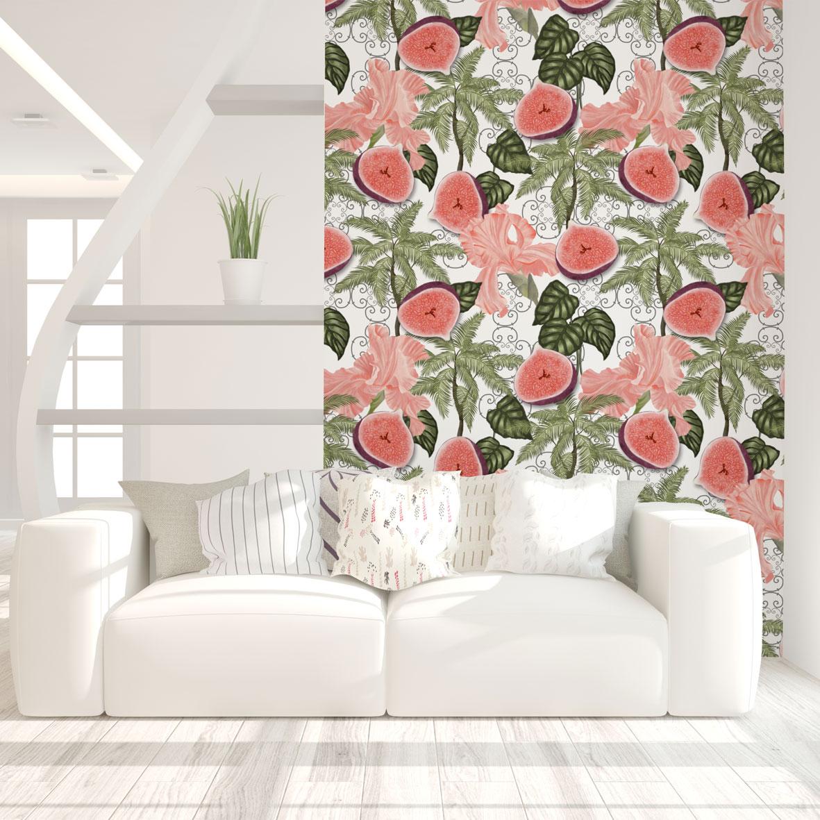 tapety tropikalne,aranżacja w stylu tropikalnym,tapeta owocowa,salon w stylu triopikalnym