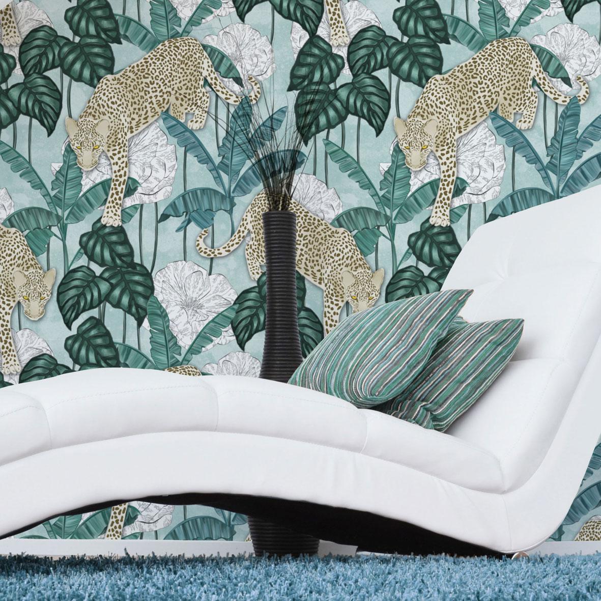 pokój w stylu tropikalnym,tapety tropikalne,tapeta tropikalna,tapeta w liście bananowca,wzór leopard