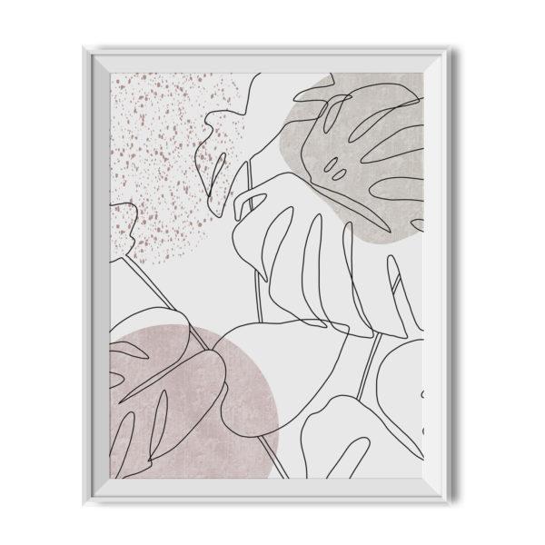 Plakat do wydruku Monstera minimalistyczna w kolorach neutralnych