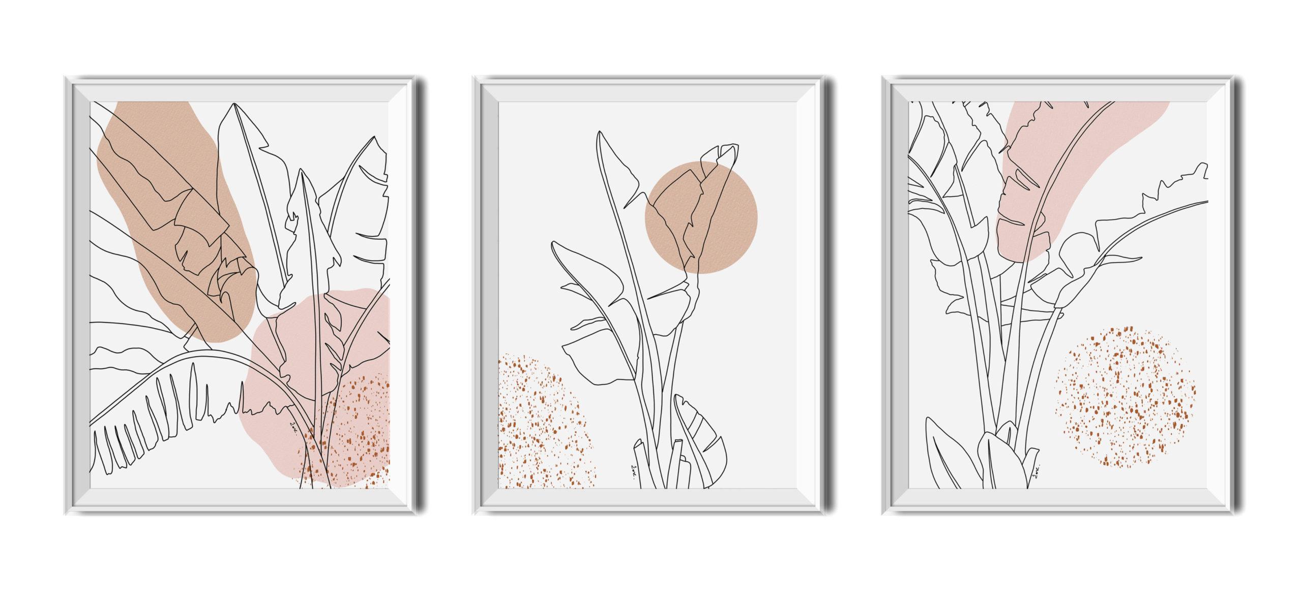 Plakaty do druku, tryptyk,liść bananowca