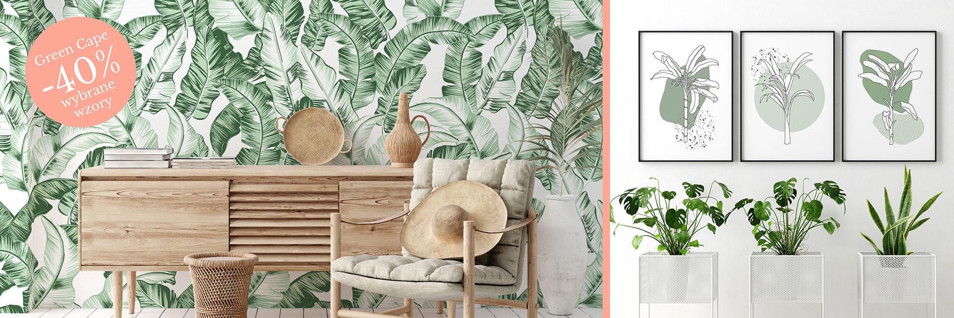 tapety tropikalne,tropikalna tapeta,aranżacja wnętrz,tropikalna aranżacja wnętrz, pokój w stylu boho,tapeta w liście bananowca