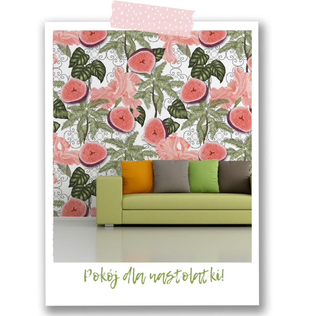 pokoj dla nastolatki,tapeta,zielona kanapa