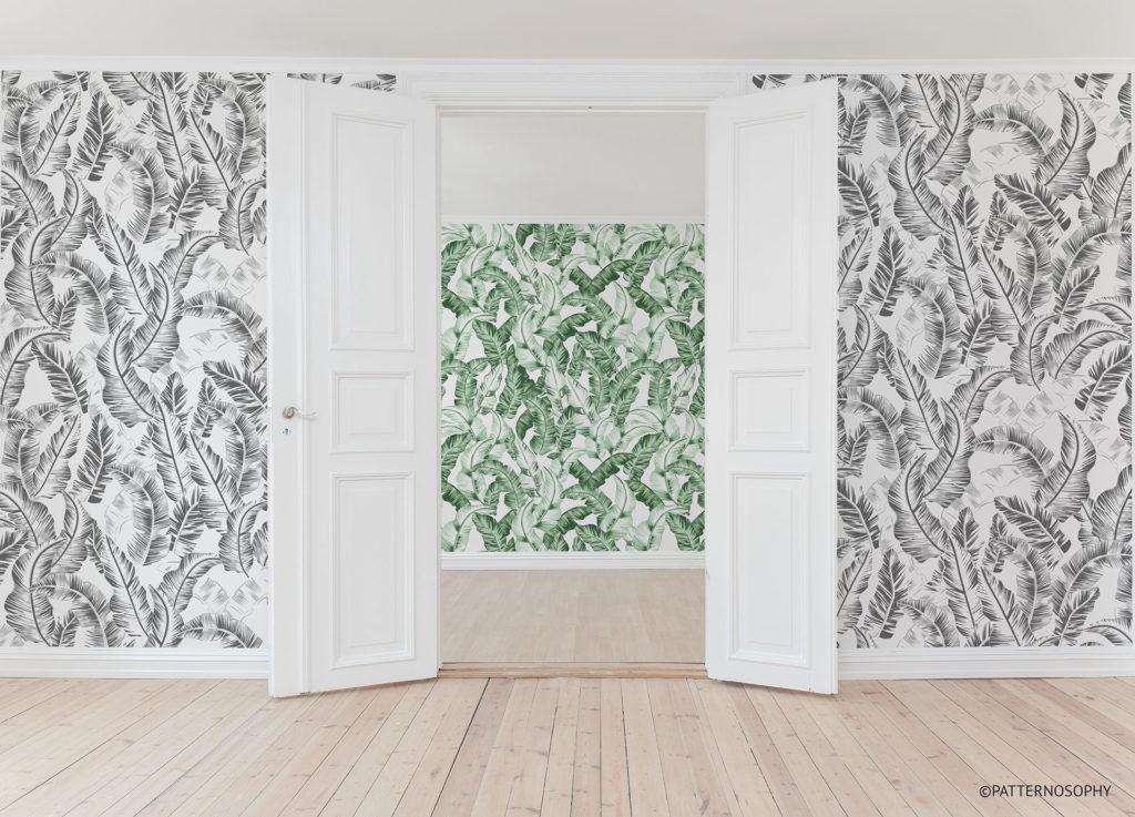 łączenie wzorów tapet, tapety w liście, tapety w liście bananowca