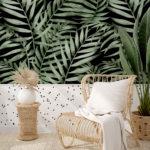 tapeta w kropki, tapeta w liście palmy