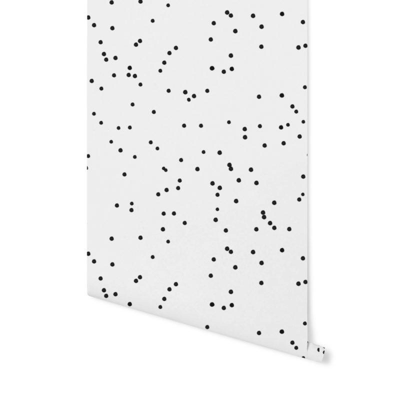 tapeta biało czarna,tapeta w kropki, tapeta geometryczna