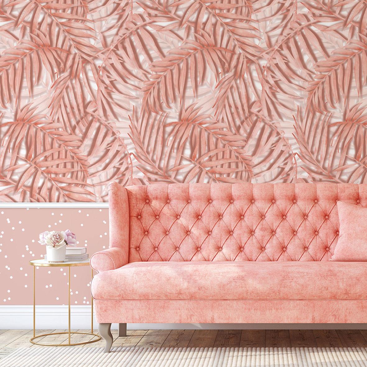 tapeta tropikalna, tapeta w liście, palma tropikalna,różowa palma