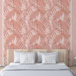 tapeta w palmy, różowa tapeta, różowa palma, tapeta w kropki,terrakota
