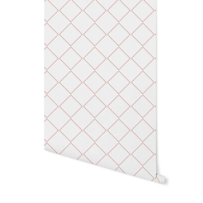 tapeta gemoetryczna,tapeta w palmy, różowa tapeta, różowa palma, tapeta w kropki,terrakota