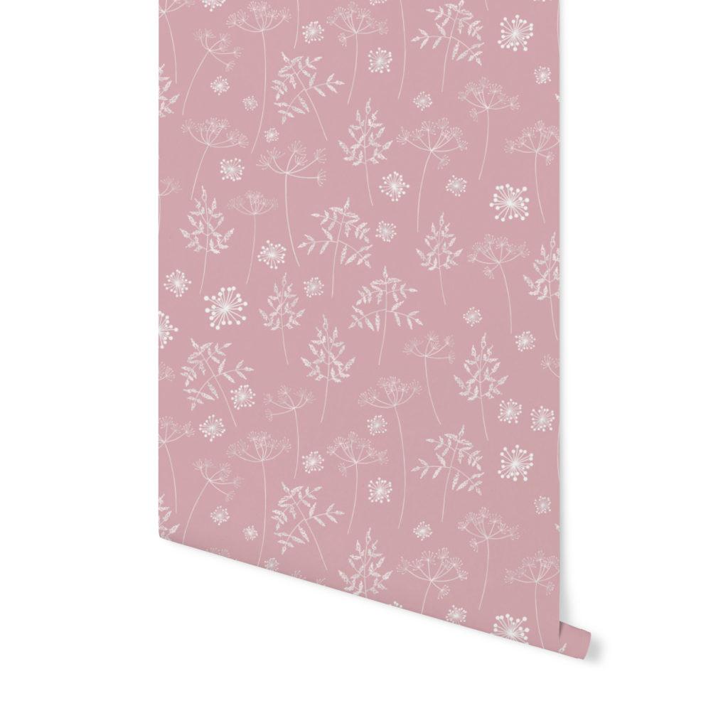 tapeta dziecięca,tapeta w łąke, tapeta w kwiaty, tapeta różowa