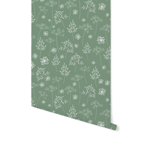 tapeta dziecięca,tapeta w kwiaty, butelkowa zieleń, tapeta zielona