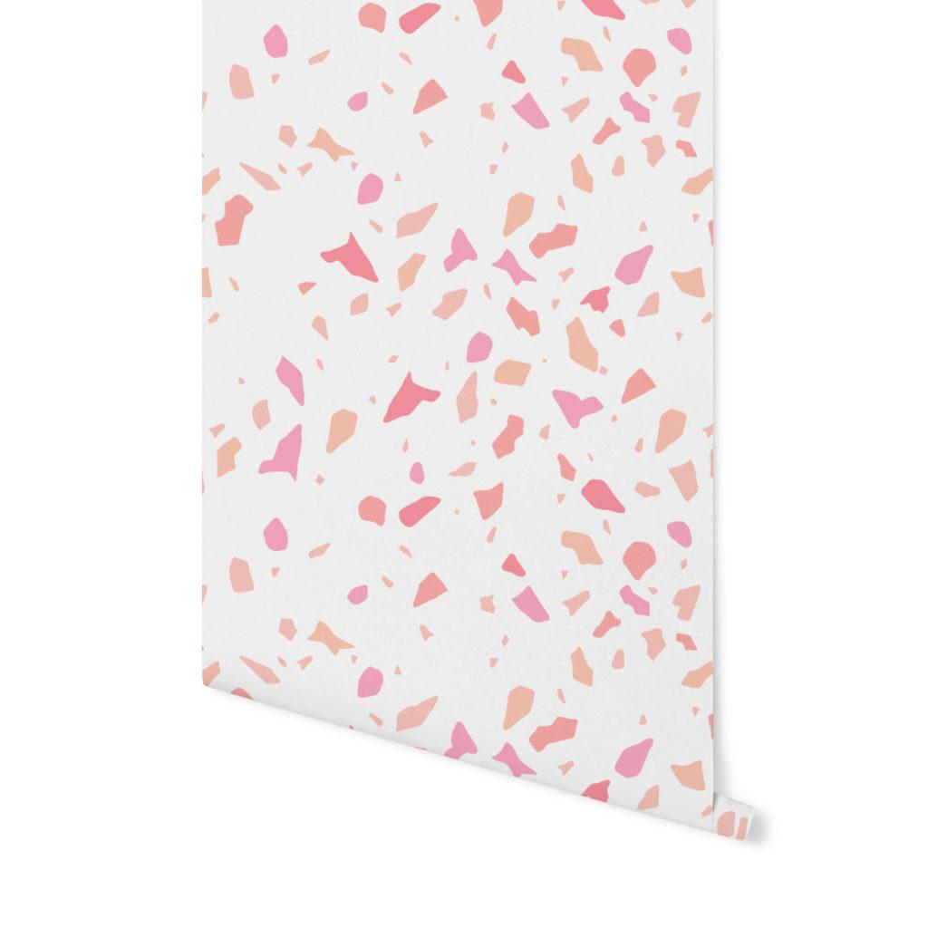 strawberry shake,terrazzo pattern, wzór terrazzo,tapeta terrazzo,tapeta kolorowa