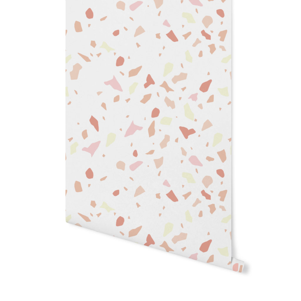vanilla pudding,terrazzo pattern, wzór terrazzo,tapeta terrazzo,tapeta kolorowa