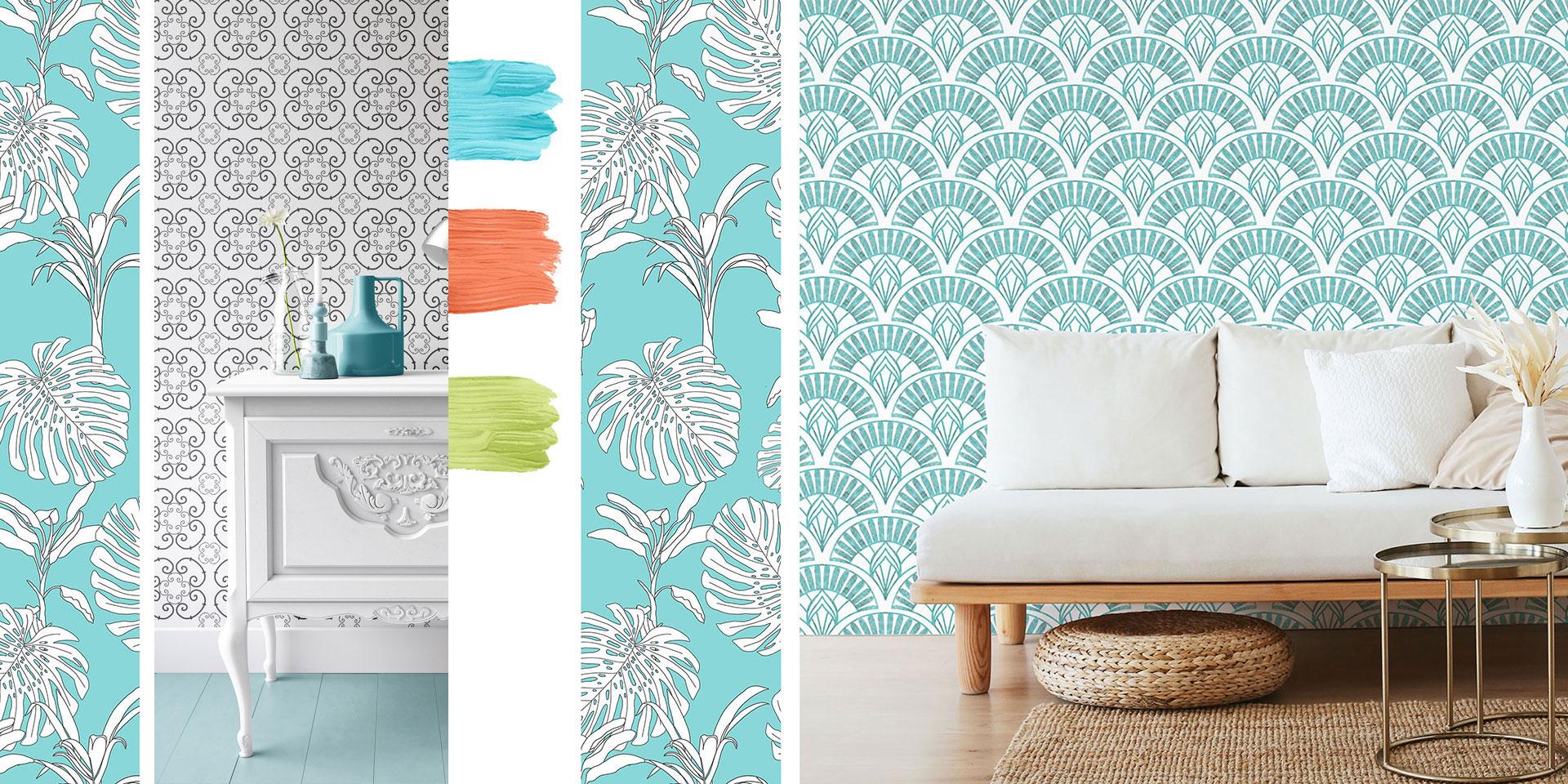 tapeta, hampton style, coastal style, wallpaper, niebieska tapeta,kolekcja tapet, patternosophy